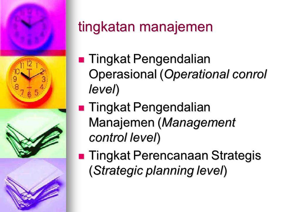 tingkatan manajemen Tingkat Pengendalian Operasional (Operational conrol level) Tingkat Pengendalian Manajemen (Management control level)