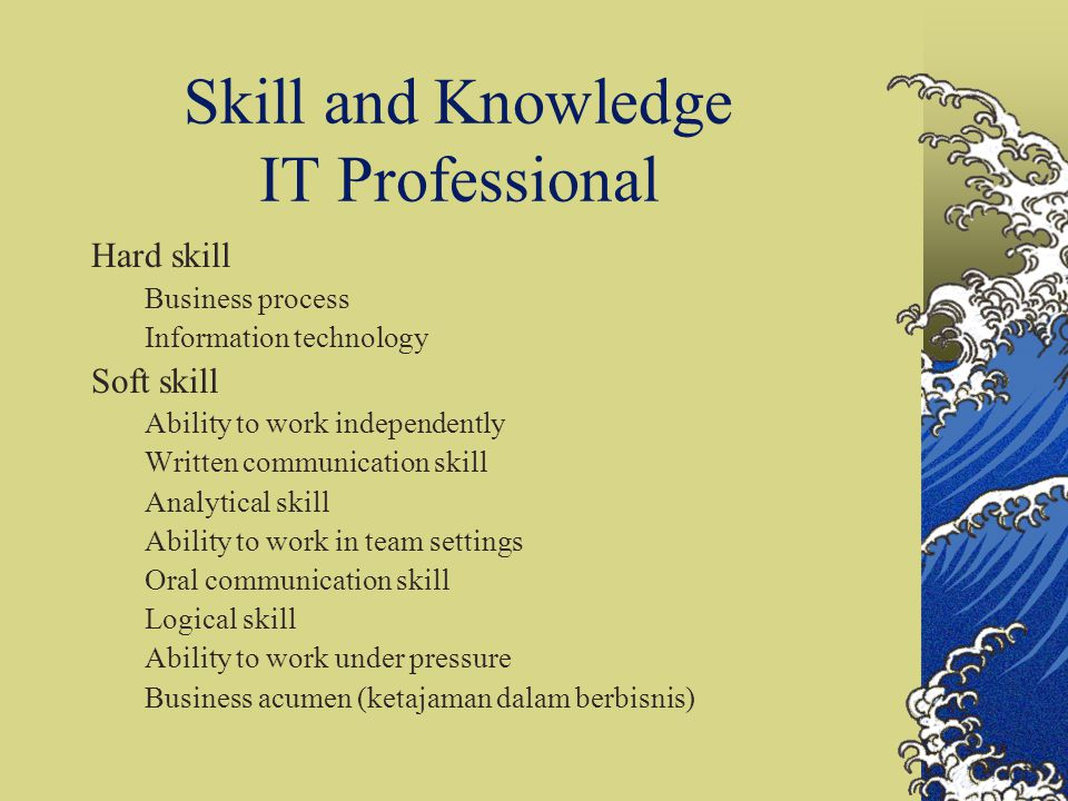 Skill and Knowledge IT Professional