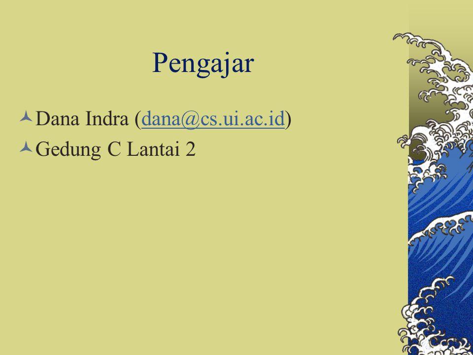 Pengajar Dana Indra (dana@cs.ui.ac.id) Gedung C Lantai 2