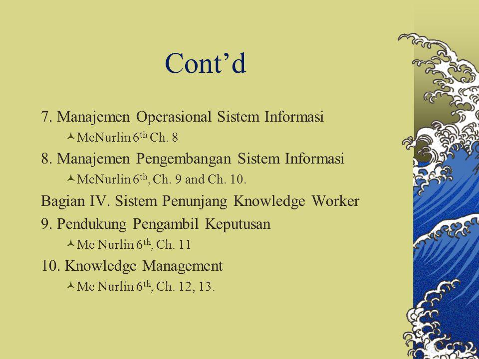 Cont'd 7. Manajemen Operasional Sistem Informasi