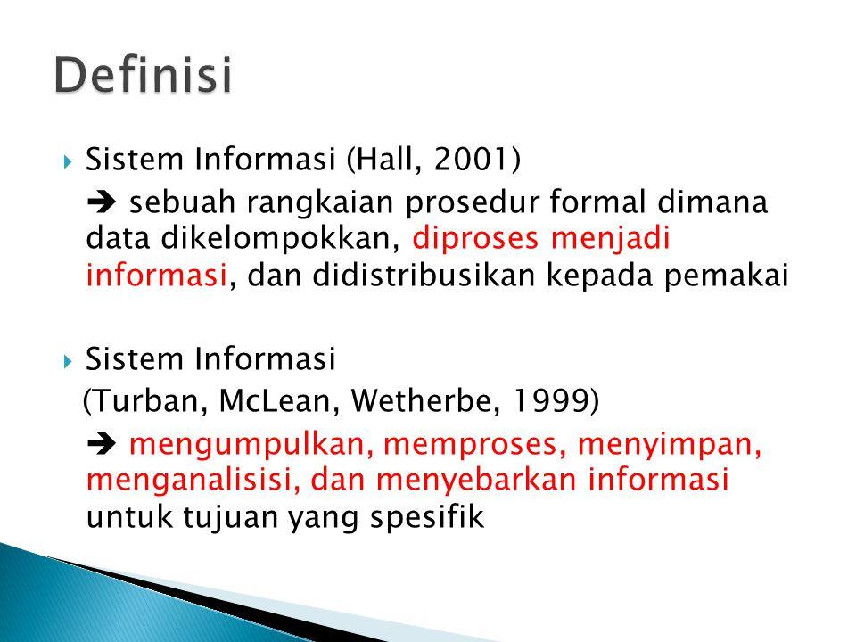 Definisi Sistem Informasi (Hall, 2001)