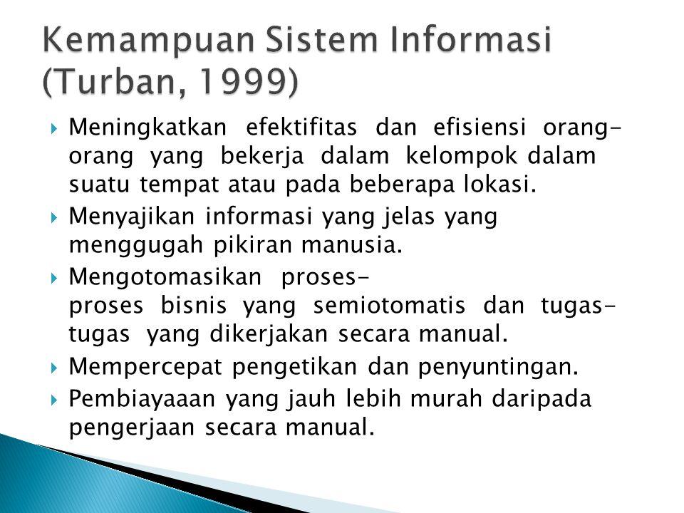 Kemampuan Sistem Informasi (Turban, 1999)