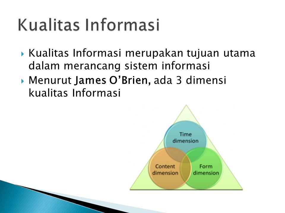 Kualitas Informasi Kualitas Informasi merupakan tujuan utama dalam merancang sistem informasi.
