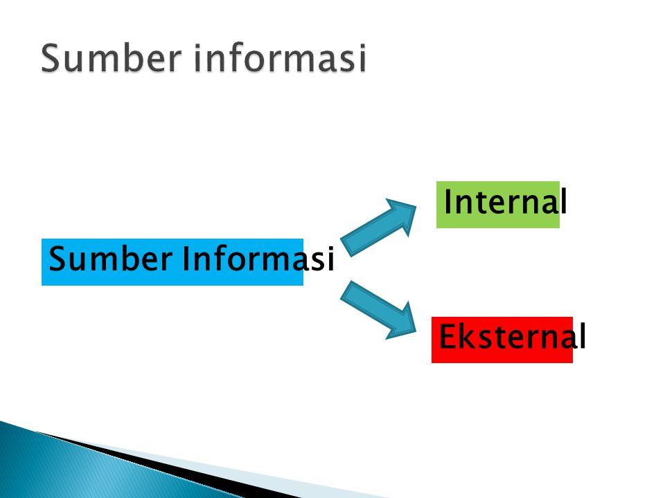 Sumber informasi Internal Sumber Informasi Eksternal