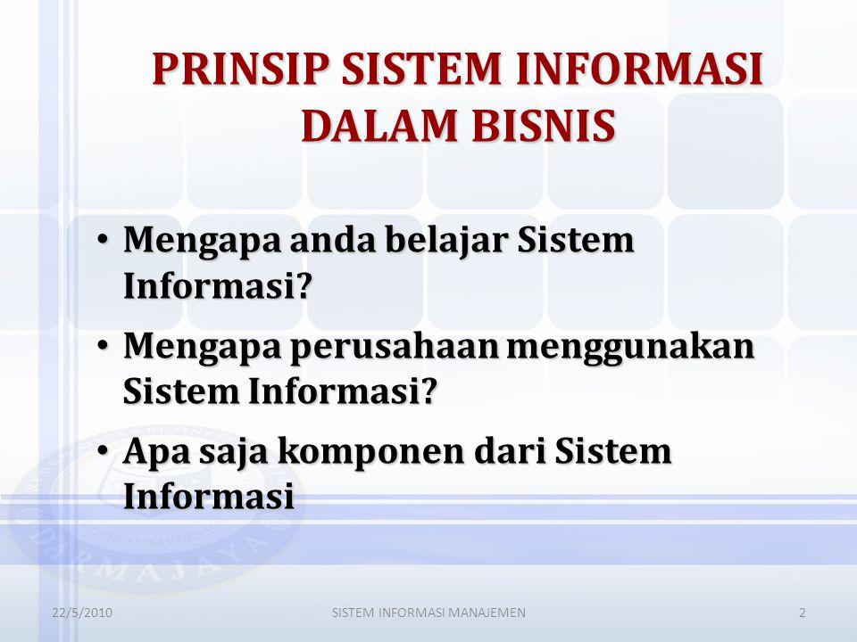 PRINSIP SISTEM INFORMASI DALAM BISNIS