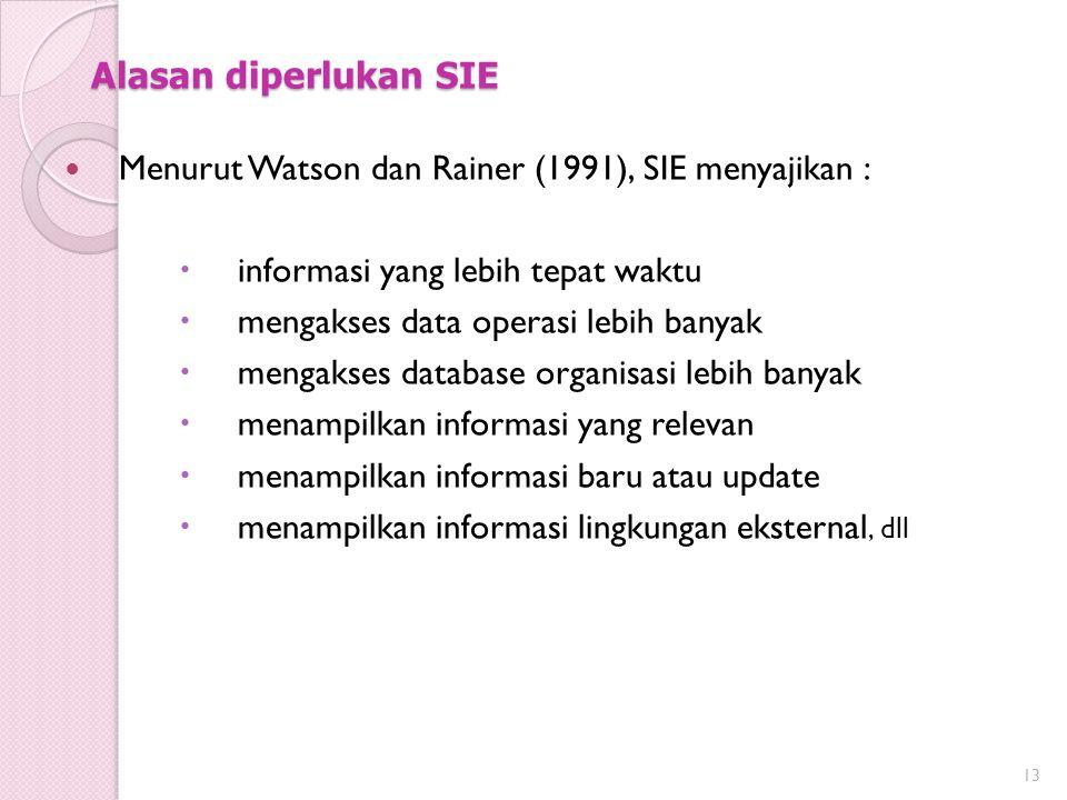 Alasan diperlukan SIE Menurut Watson dan Rainer (1991), SIE menyajikan : informasi yang lebih tepat waktu.