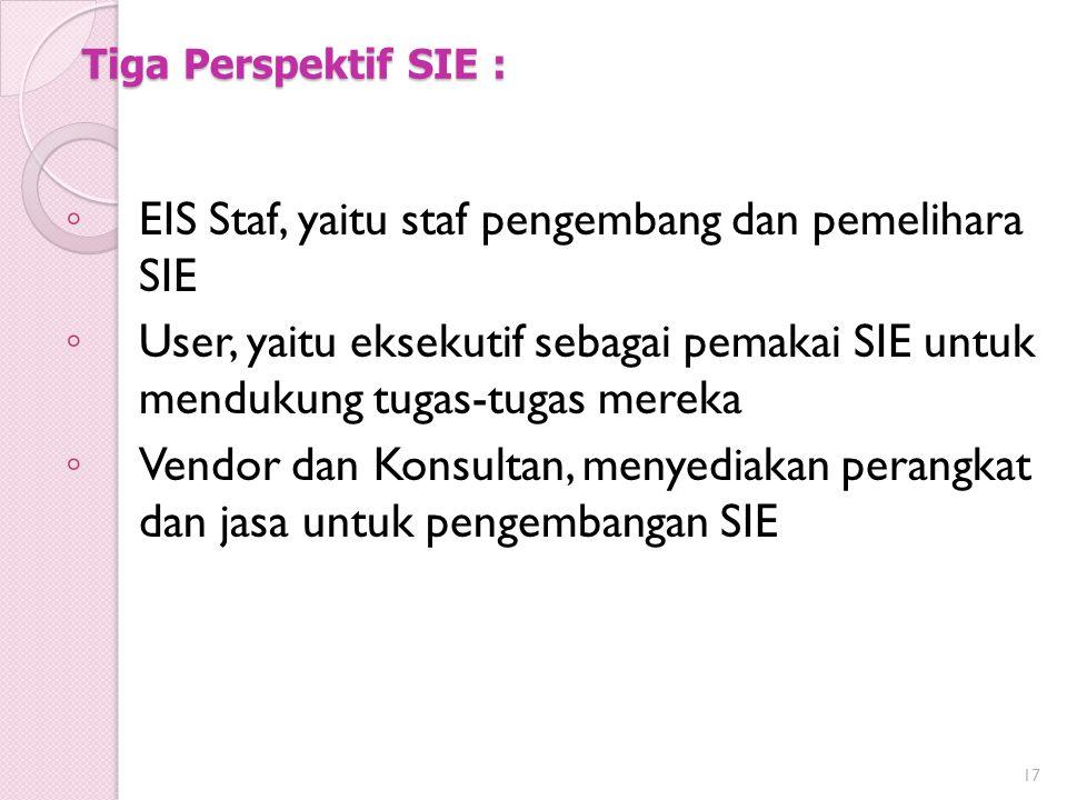 EIS Staf, yaitu staf pengembang dan pemelihara SIE