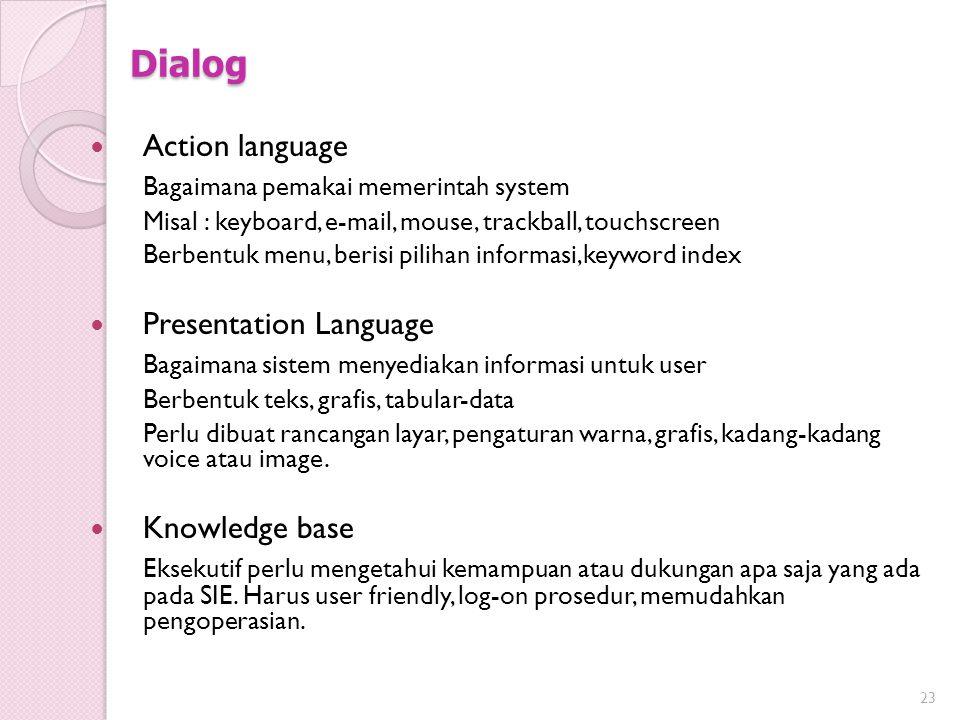 Dialog Action language Bagaimana pemakai memerintah system