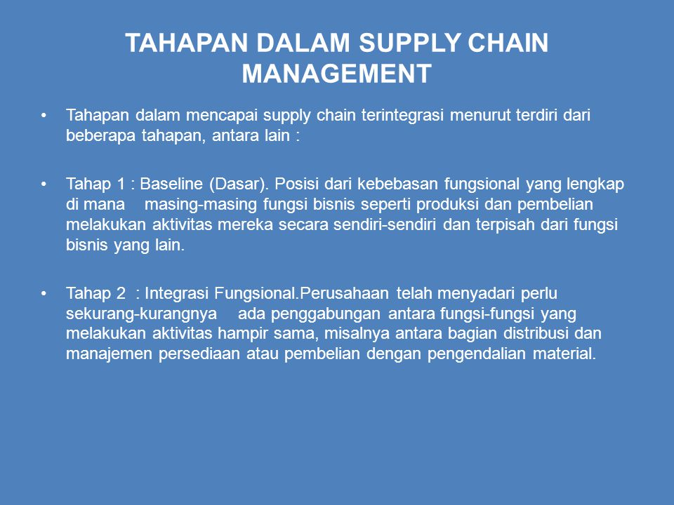 TAHAPAN DALAM SUPPLY CHAIN MANAGEMENT