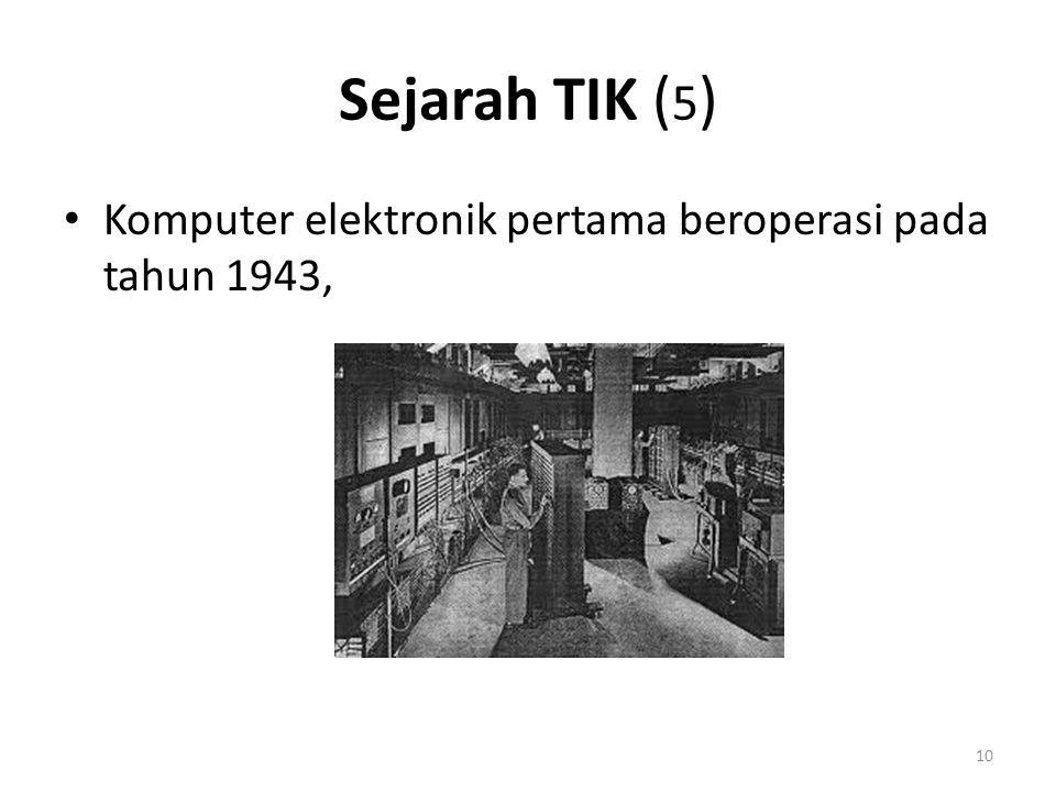 Sejarah TIK (5) Komputer elektronik pertama beroperasi pada tahun 1943,