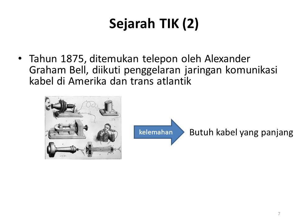 Sejarah TIK (2) Tahun 1875, ditemukan telepon oleh Alexander Graham Bell, diikuti penggelaran jaringan komunikasi kabel di Amerika dan trans atlantik.