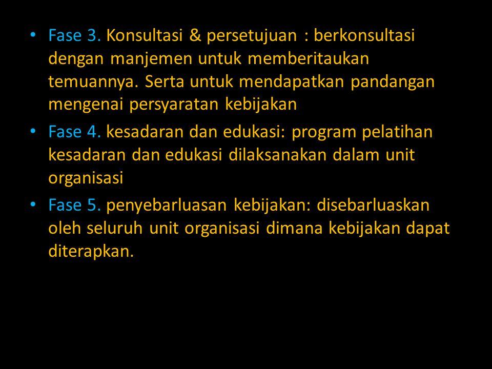 Fase 3. Konsultasi & persetujuan : berkonsultasi dengan manjemen untuk memberitaukan temuannya. Serta untuk mendapatkan pandangan mengenai persyaratan kebijakan