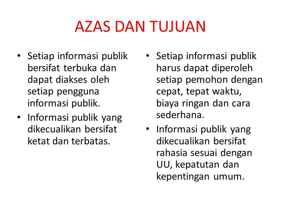 AZAS DAN TUJUAN Setiap informasi publik bersifat terbuka dan dapat diakses oleh setiap pengguna informasi publik.