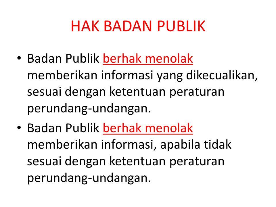 HAK BADAN PUBLIK Badan Publik berhak menolak memberikan informasi yang dikecualikan, sesuai dengan ketentuan peraturan perundang-undangan.