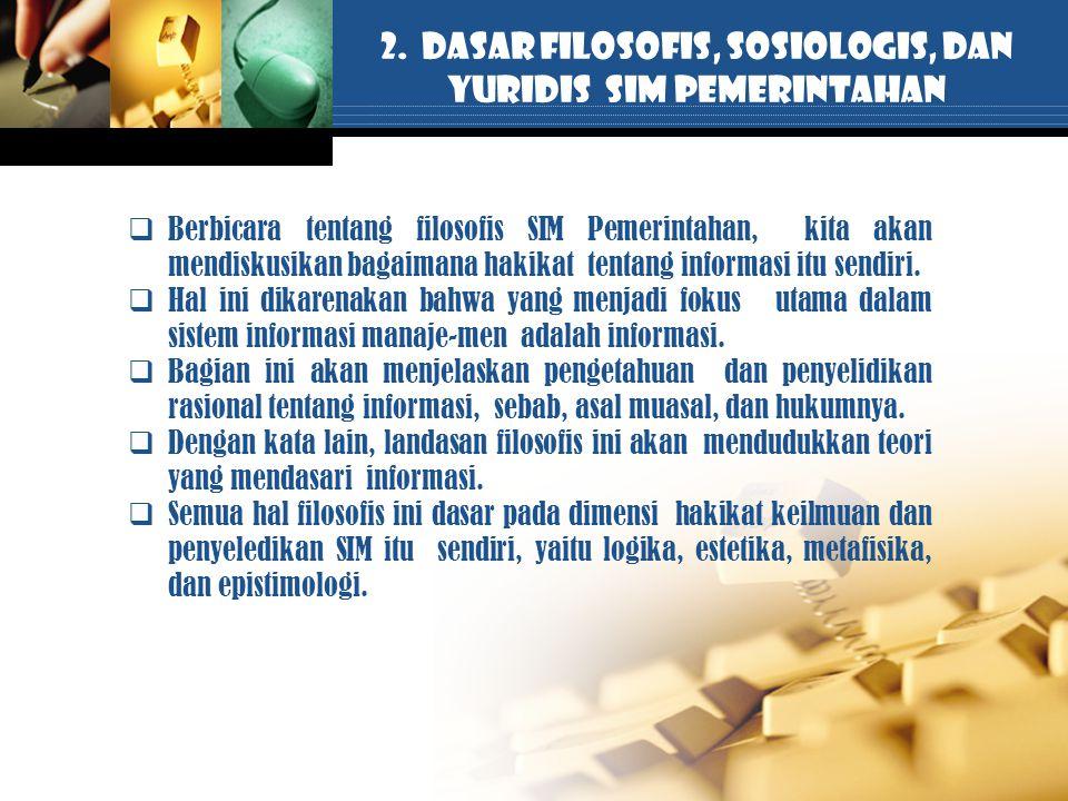 2. DASAR FILOSOFIS, SOSIOLOGIS, DAN YURIDIS SIM PEMERINTAHAN