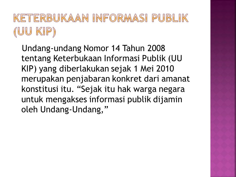Keterbukaan Informasi Publik (UU KIP)