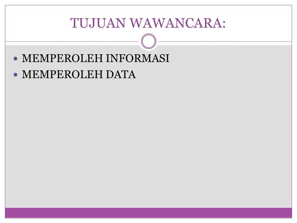 TUJUAN WAWANCARA: MEMPEROLEH INFORMASI MEMPEROLEH DATA