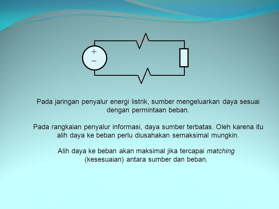 +  Pada jaringan penyalur energi listrik, sumber mengeluarkan daya sesuai dengan permintaan beban.