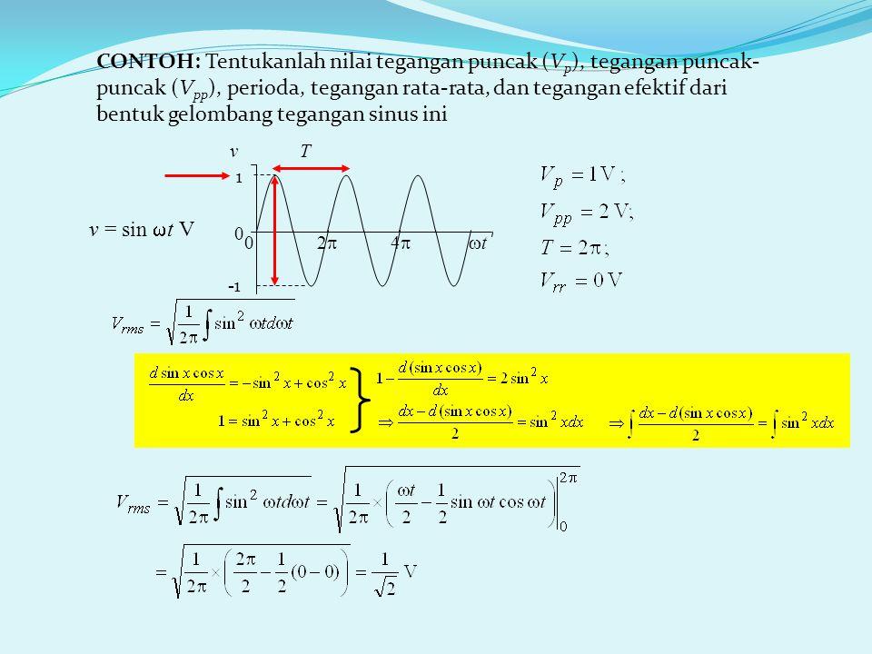 CONTOH: Tentukanlah nilai tegangan puncak (Vp), tegangan puncak-puncak (Vpp), perioda, tegangan rata-rata, dan tegangan efektif dari bentuk gelombang tegangan sinus ini