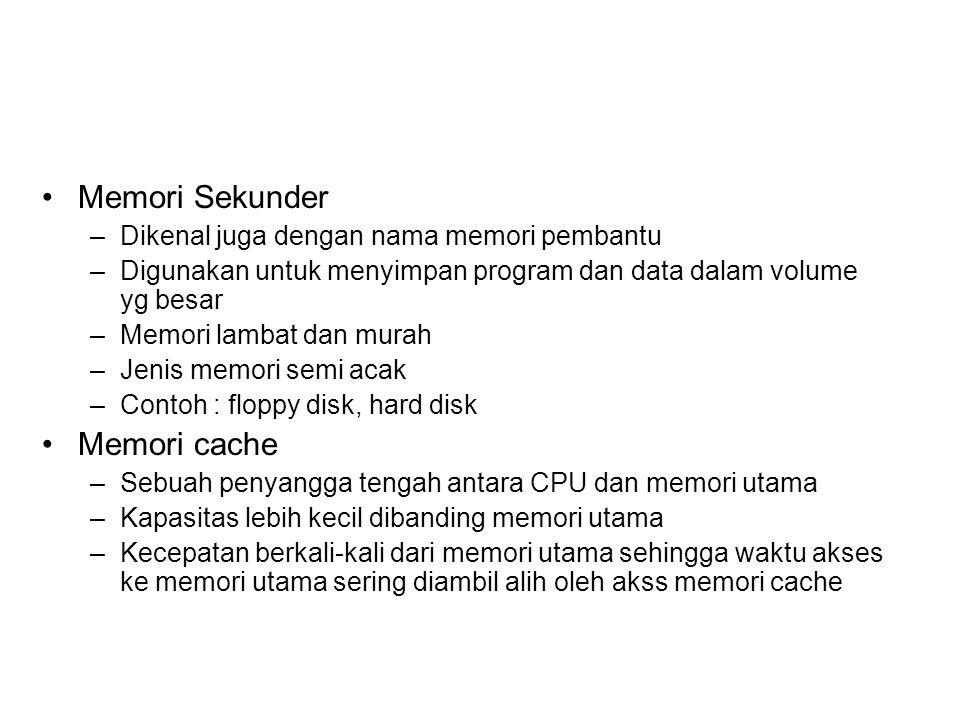 Memori Sekunder Memori cache Dikenal juga dengan nama memori pembantu
