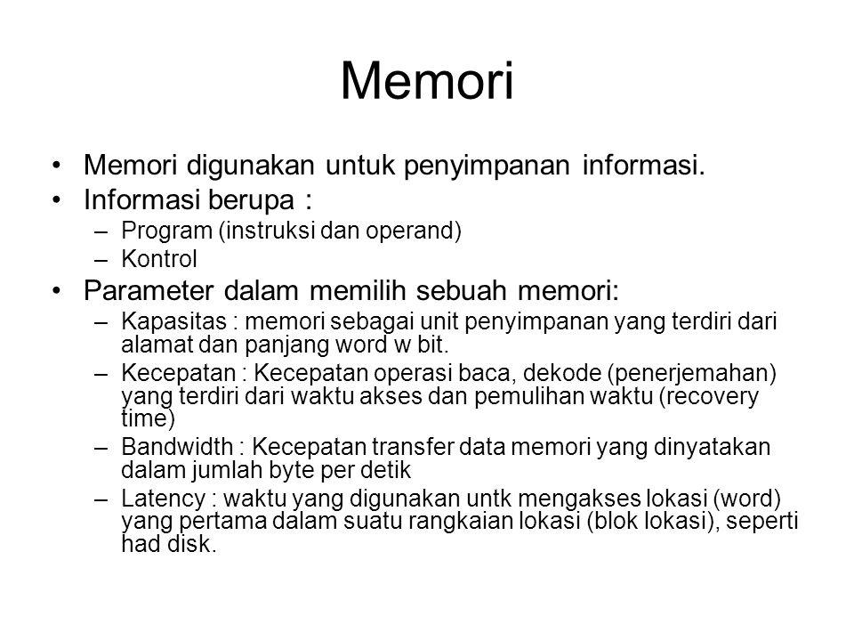 Memori Memori digunakan untuk penyimpanan informasi.
