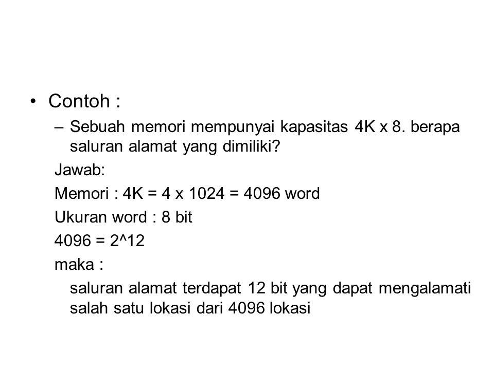 Contoh : Sebuah memori mempunyai kapasitas 4K x 8. berapa saluran alamat yang dimiliki Jawab: Memori : 4K = 4 x 1024 = 4096 word.