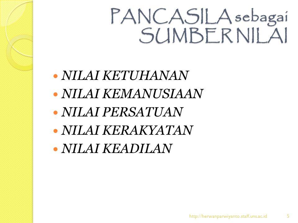 PANCASILA sebagai SUMBER NILAI