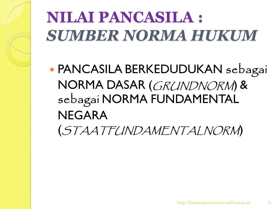 NILAI PANCASILA : SUMBER NORMA HUKUM