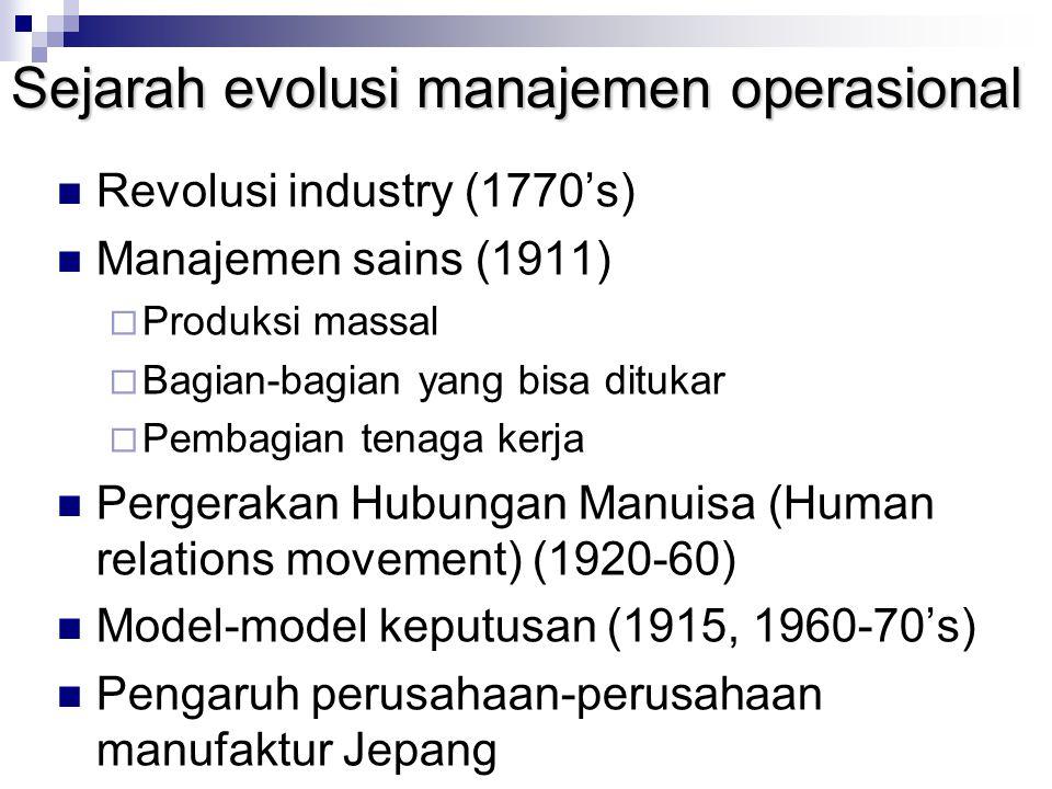 Sejarah evolusi manajemen operasional