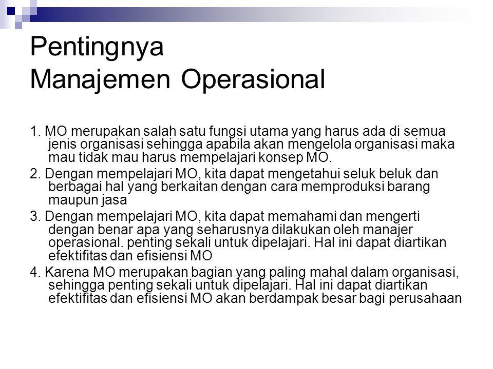 Pentingnya Manajemen Operasional