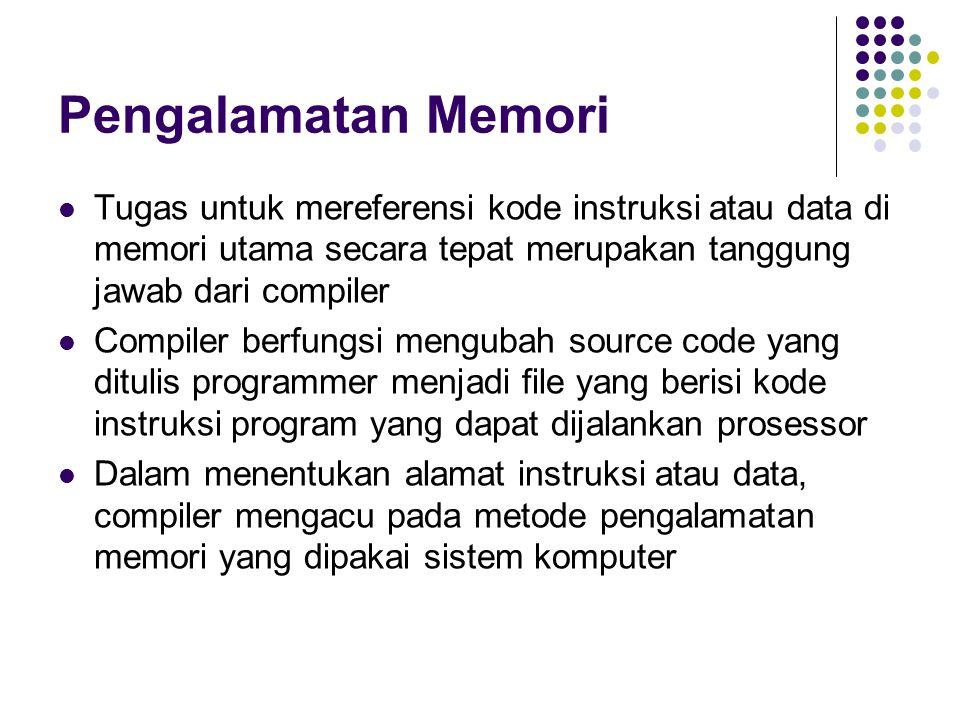 Pengalamatan Memori Tugas untuk mereferensi kode instruksi atau data di memori utama secara tepat merupakan tanggung jawab dari compiler.