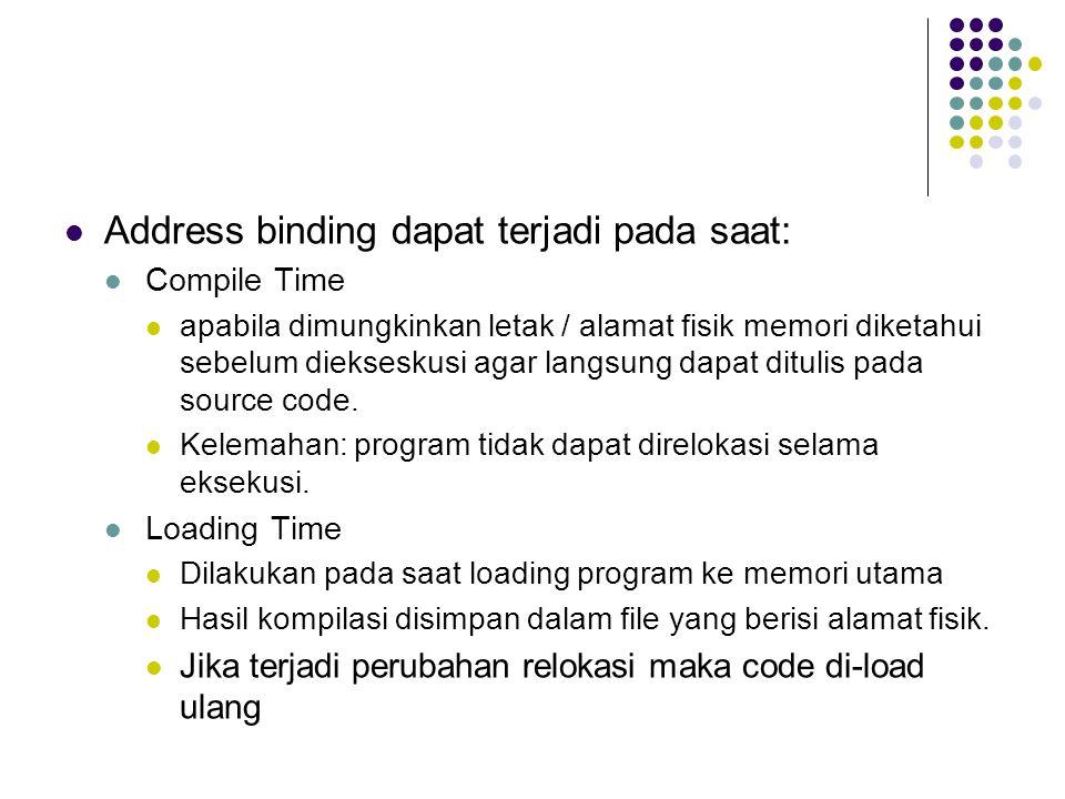 Address binding dapat terjadi pada saat: