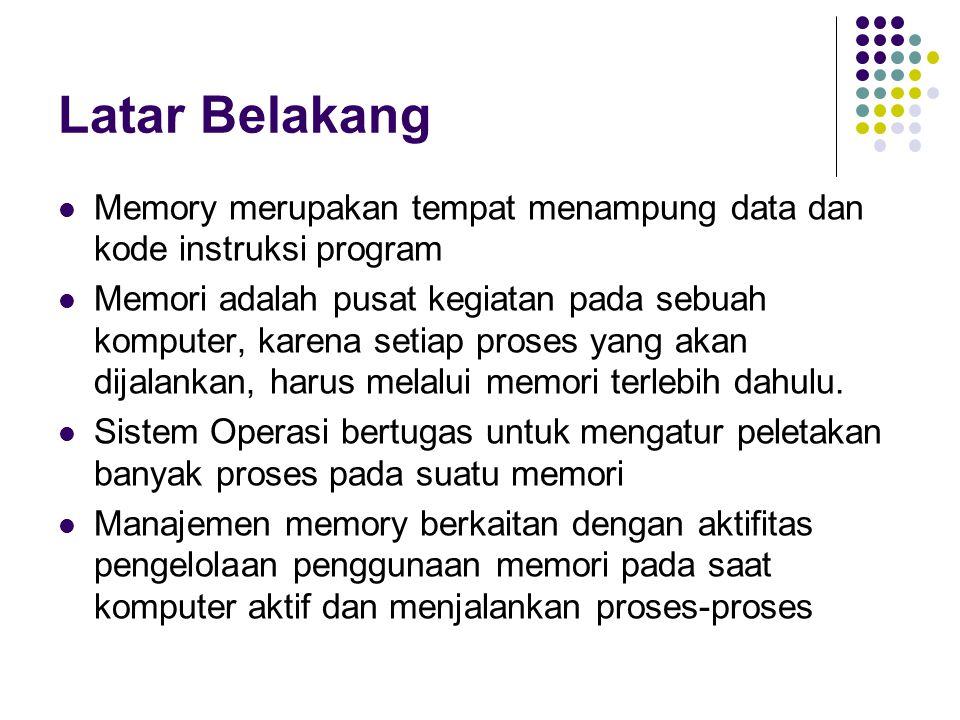 Latar Belakang Memory merupakan tempat menampung data dan kode instruksi program.