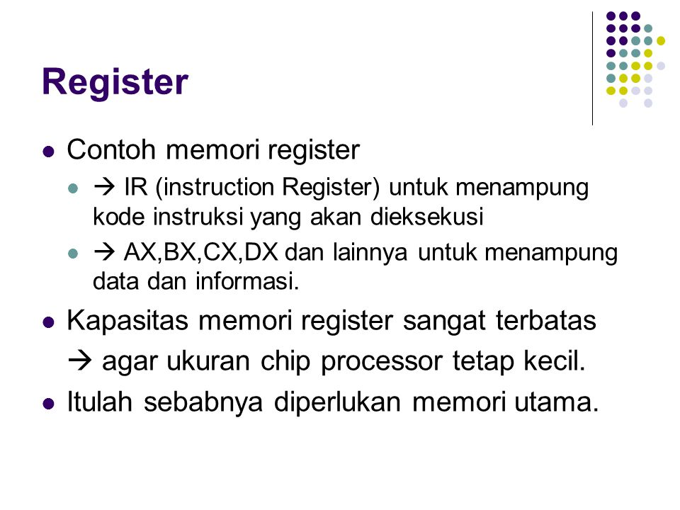 Register Contoh memori register