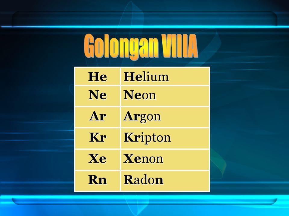 Golongan VIIIA He Helium Ne Neon Ar Argon Kr Kripton Xe Xenon Rn Radon