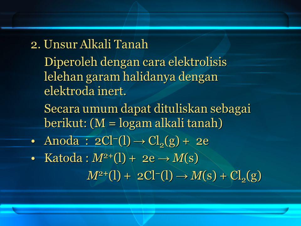 2. Unsur Alkali Tanah Diperoleh dengan cara elektrolisis lelehan garam halidanya dengan elektroda inert.