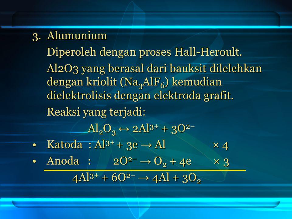 3. Alumunium Diperoleh dengan proses Hall-Heroult.
