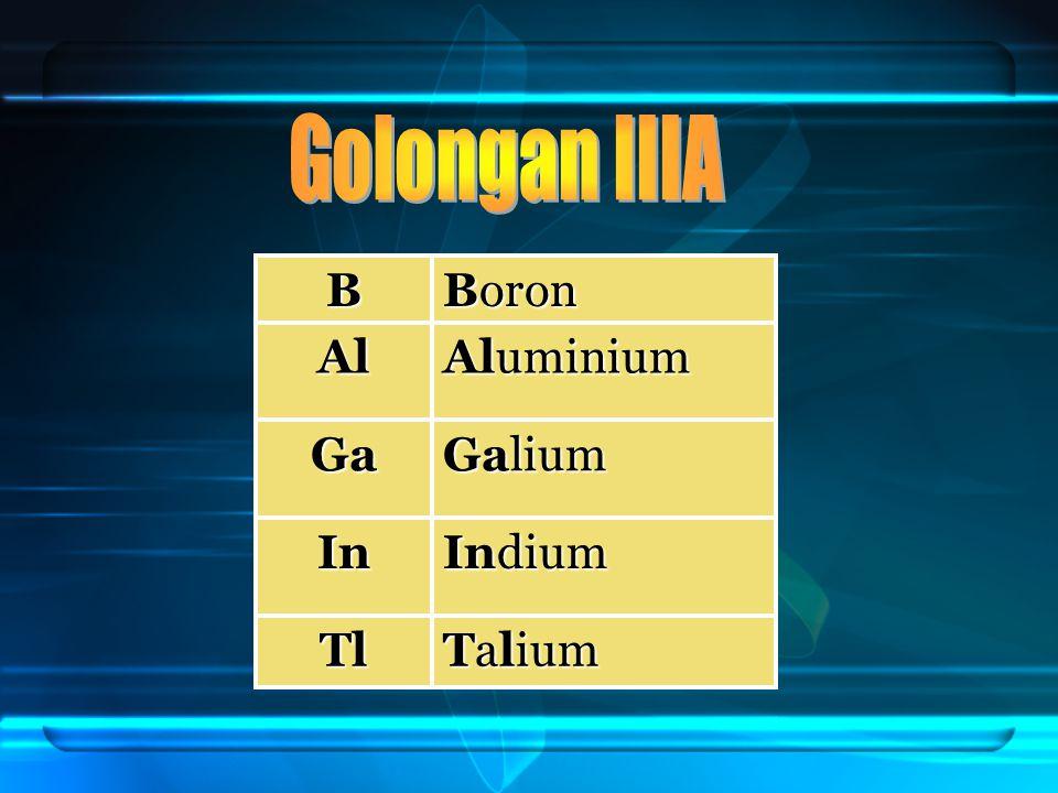 Golongan IIIA B Boron Al Aluminium Ga Galium In Indium Tl Talium