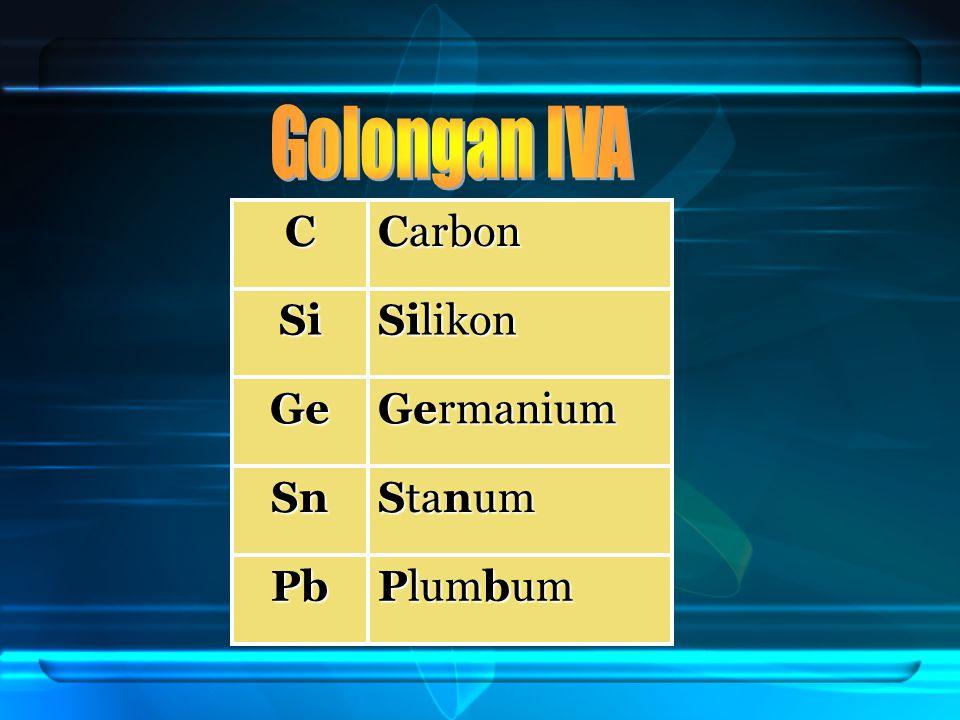 Golongan IVA C Carbon Si Silikon Ge Germanium Sn Stanum Pb Plumbum