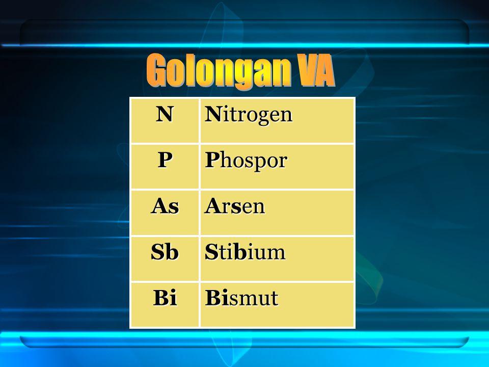 Golongan VA N Nitrogen P Phospor As Arsen Sb Stibium Bi Bismut