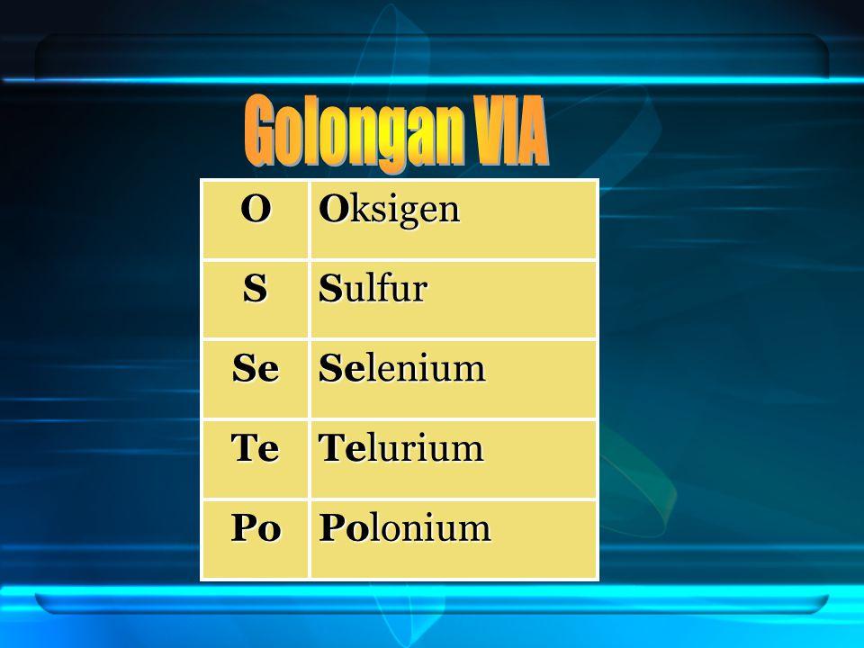 Golongan VIA O Oksigen S Sulfur Se Selenium Te Telurium Po Polonium
