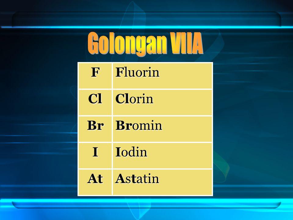 Golongan VIIA F Fluorin Cl Clorin Br Bromin I Iodin At Astatin