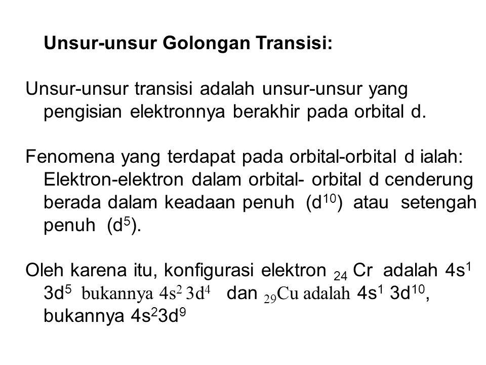 Unsur-unsur Golongan Transisi: