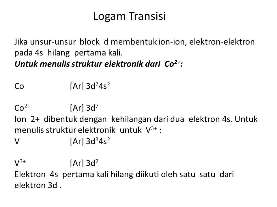 Logam Transisi Jika unsur-unsur block d membentuk ion-ion, elektron-elektron pada 4s hilang pertama kali.