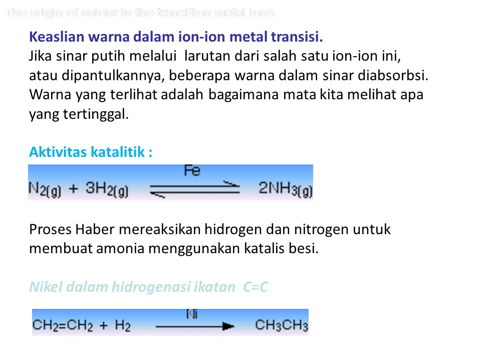 Keaslian warna dalam ion-ion metal transisi.