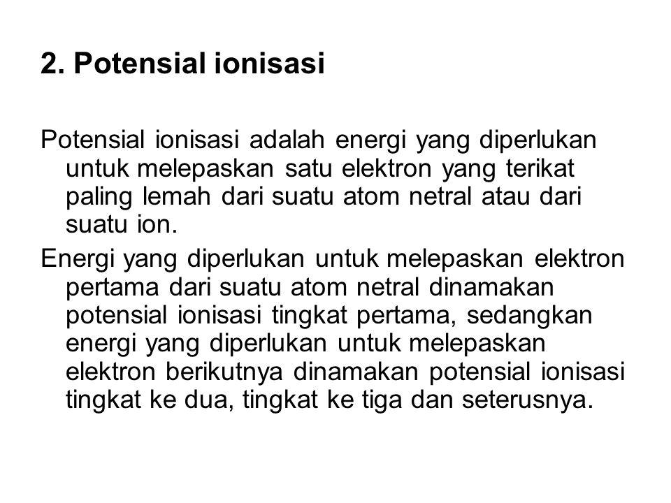 2. Potensial ionisasi