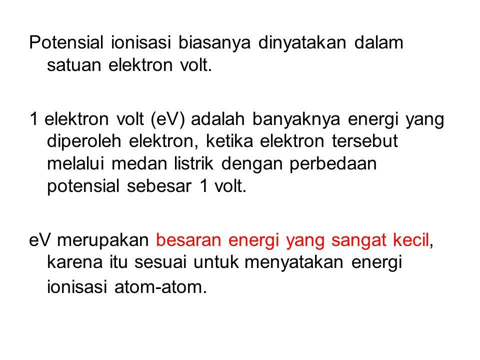 Potensial ionisasi biasanya dinyatakan dalam satuan elektron volt.
