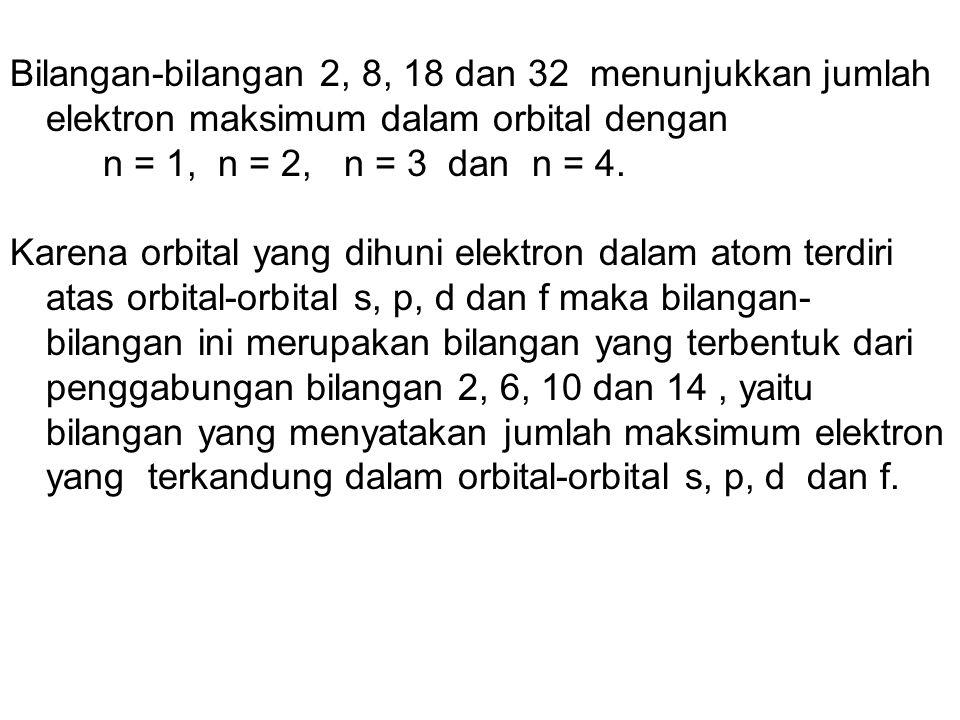 Bilangan-bilangan 2, 8, 18 dan 32 menunjukkan jumlah elektron maksimum dalam orbital dengan
