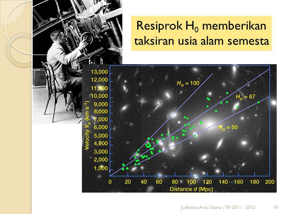 Resiprok H0 memberikan taksiran usia alam semesta