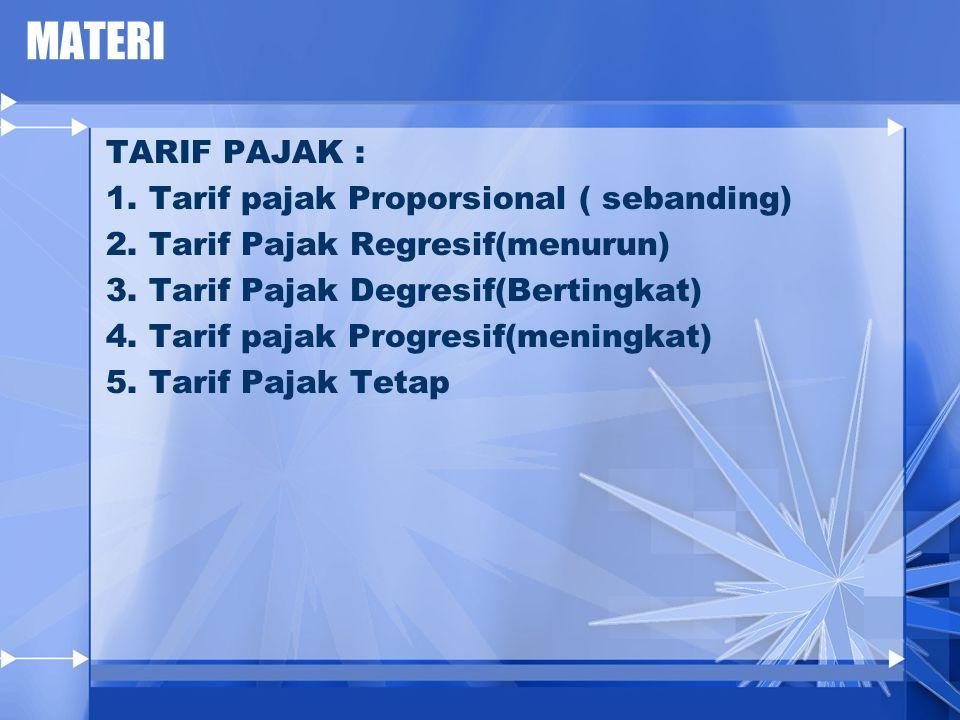 MATERI TARIF PAJAK : 1. Tarif pajak Proporsional ( sebanding)